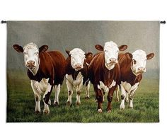 """This playful yet inspiring """"Fab Four"""" Cow Wall Hanging from is a licensed re-creation of the work of renowned British artist Paul James."""