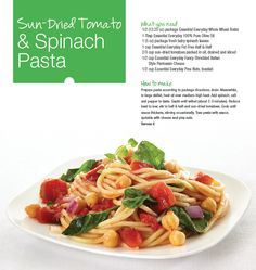 Try our Sun-Dried Tomato & Spinach Pasta recipe featuring the ...