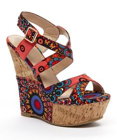 Look what I found on #zulily! Coral & Blue Arabesque Flamingo Wedge by Springland #zulilyfinds