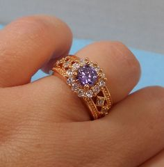 Large Gold Plated Purple CZ Cocktail Ring Size 7 by GrandmasTrove