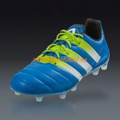 buy online c8ca9 4a719 El mas nuevo Botas De futbol Adidas Ace 16.1 FG AG Azul Semi Solar Limo  Blanco