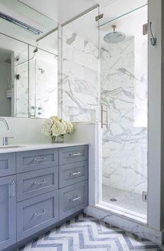 Cabinets are Benjamin Moore Dior Gray. Benjamin Cruz Designs love the chevron floor! Bathroom Renos, Grey Bathrooms, Beautiful Bathrooms, Small Bathroom, Master Bathroom, Luxury Bathrooms, Bathroom Bath, White Bathroom, Chevron Bathroom
