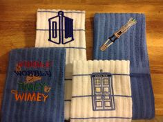 (in the adjacent bathroom) Embroidered Dr Who kitchen towels set of by monasbox on Etsy, $35.00