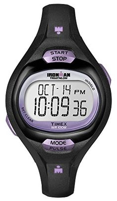 Timex Womens T5K187 Ironman Pulse Calculator Black/Purple Resin Strap Watch