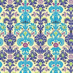 Enchanted Damask Fabric - Turquoise