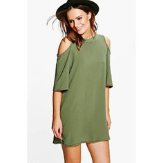 Boohoo Emily Woven Cold Shoulder Skater Dress ($26) ❤ liked on Polyvore featuring dresses, khaki, green camisole, green skater dress, green evening dresses, special occasion dresses and green holiday dress