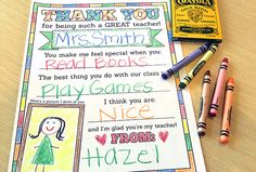 Teacher appreciation printables: thank you card from Frugal Novice