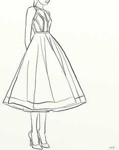 dress Fashion drawing - Art print of digital painting - Woman in floaty dress, fashion painting of woman in a dress, line art fashion painting Dress Design Drawing, Dress Design Sketches, Dress Drawing, Fashion Design Drawings, Drawing Hair, Dress Illustration, Fashion Illustration Dresses, Fashion Drawing Dresses, Dress Fashion