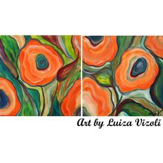 Original Flowers Painting ORANGE POPPIES Whimsical Colorful Artwork, Children room, Palyroom art,Spring Wall Decor, set of two paintings.
