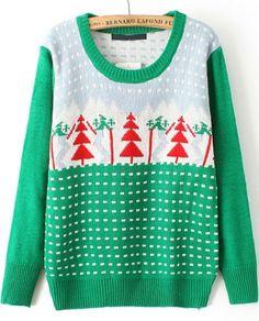 Green Christmas Tree Knit Sweater | #USTrendy  www.ustrendy.com