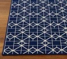 Yo propio la alfombra es blanco y azul en mi dormitorio