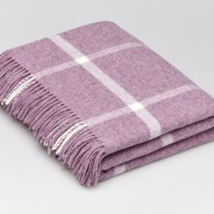 Lambswool Lilac Windowpane Blanket Check Throw 140x185 Cms
