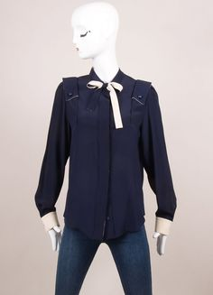 New With Tags Navy and Cream Silk Bow Long Sleeve Button Down Blouse