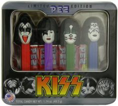 """KISS Pez Dispenser Gift Set  """"Pez I hear you calling, but I can't come home right now. Me and the boys are playin', oh Pez what can I do?""""  We'll tell you what to do, Rock n Roll all night and have Pez every day."""