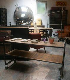 Etagère basse métal & bois - Années 50 -