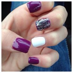Purple, White, and Sparkle Nails