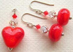 Luscious Red Hearts - Lampwork Pendant and Dangle Earrings Set