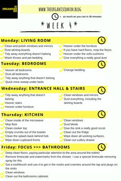 The Organised Mum Method Week 5 checklist. I use this method for keeping up to date with my housework! Half an hour cleaning a day and nothing at the weekend! Weekly Cleaning, Cleaning Checklist, House Cleaning Tips, Spring Cleaning, Cleaning Hacks, Cleaning Schedules, Cleaning Routines, Cleaning Lists, Speed Cleaning