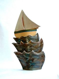 Ceramics by Terri Smart at Studiopottery.co.uk - Beating Upwind - Produced in 2003. Stoneware Approx 35cm tall.