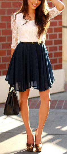 White lace + midnight blue chiffon dress cuuute