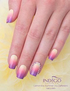 Lemon Ice Nail Polish by Paulina Walaszczyk Indigo Educator #nails #nailpolish #nailsart #coolnails #lemon #ombre #swarovski #violet #pink