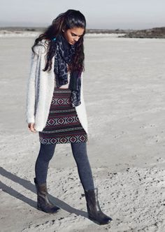 Winter loving this is THE outfit! loving the boots a lot Winter Dresses, Winter Wear, Bohemian, Boots, Womens Fashion, How To Wear, Outfits, Clothes, Style