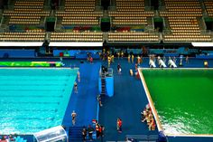 General view of the diving pool at Maria Lenk Aquatics Centre on Day 4 of the Rio 2016 Olympic Games at Maria Lenk Aquatics Centre on August 9, 2016 in Rio de Janeiro, Brazil. (Aug. 8, 2016 - Source: Adam Pretty/Getty Images South America)