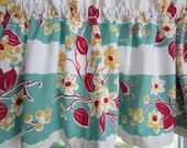 Curtain Valance - Vintage Tablecloth  62 x 16 Turquoise, Red, White, and Yellow