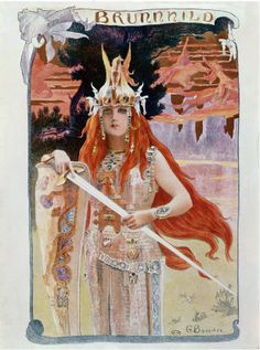 """Brunnhilde - Illustration from """"Die Walkure"""" by Richard Wagner Size: 18 in x 24 in."""
