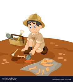 Cute man archaeologists cartoon searching fossil vector image on VectorStock