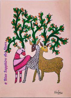 Primitive Folk Art, Folk Art, Gond Painting, Hanging Art, Tribes In India, Indian Art, Naive Art, Painting, Animal Paintings