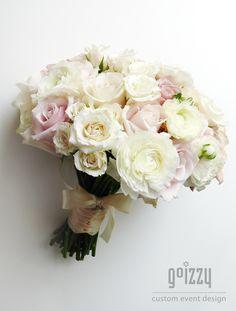 White & Blush Rose Bridal Bouquet