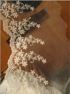 00c4d7ee3d Ivory Bridal Lace Trim with Embroidered Florals Gauze by LaceFun