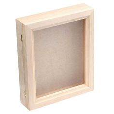 Unfinished wood shadow box frame is hinged for easy access. $18.95