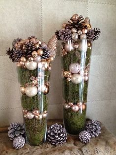 Dollar Store Christmas Table Centerpieces – Wine Glass Candle Holders Moss and ornaments.