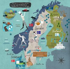 "Scandinavia 2015 AD: Sweden, Norway, Finland, Iceland and Denmark - by Martin Haake. I'm putting this under ""Native Pride"" because for me I just found out that I'm Scandinavian. Travel Maps, Travel Posters, Norway Today, Vasa Museum, Voyage Suede, Sweden Travel, Sweden Map, Denmark Map, Italy Travel"