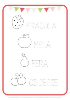 scheda pregrafismo frutta Educational Games For Kids, Activities For Kids, Minnie Mouse Baby Shower, Preschool Worksheets, Colouring Pages, Special Education, Montessori, Diagram, Writing