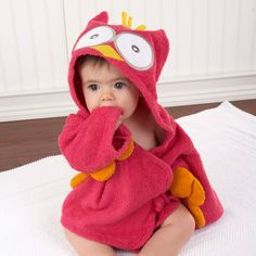 """My Little Night Owl"" Pink Hooded Terry Spa Robe (Personalization Available)"
