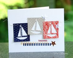 """flower stamp + new die and """"new swirl"""" Love this card created by Virginia using the Simon Says Stamp July 2015 card kit. Card Making Inspiration, Making Ideas, Nautical Cards, Beach Cards, Birthday Wishes Cards, Marianne Design, Card Maker, Card Kit, Masculine Cards"""