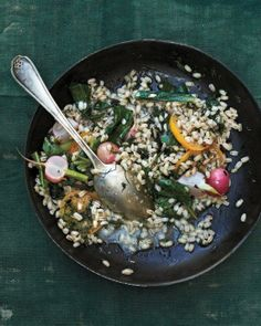 Whole Grain Goodness // Barley Risotto with Swiss Chard, Radishes, and Preserved Lemon Recipe