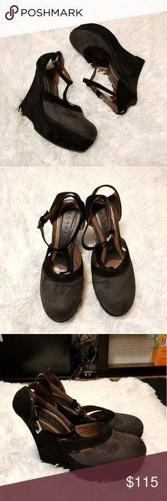 Marni suede wedges So adorable. Good shape. Soft suede material. Dark grey and black in color. Dainty strap that wraps around the ankles. Perfect for a night out, wear with skirts or dresses! Made in Italy. Tag Size 40 will fit a 9. Marni Shoes Wedges