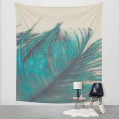 Turquoise Feather Wall Tapestry