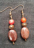 Red Agate , Rainbow stone and copper beads . Ear hook in copper.