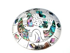 Huge Sterling Silver Mexican Brooch Abalone SeaShell