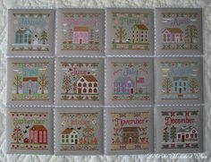 Country Cottage Needleworks Showcase and Stitch~A~Long Place: My version of Cottage of the Month Series Cross Stitch House, Cross Stitch Boards, Cross Stitch Needles, Cross Stitching, Cross Stitch Embroidery, Cross Stitch Designs, Cross Stitch Patterns, Country Cottage Needleworks, Cross Stitch Geometric