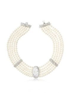 70% OFF CZ by Kenneth Jay Lane Freshwater Pearl Drama Collar Necklace