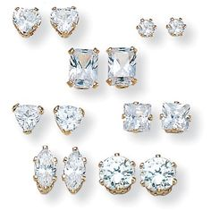 8.00 TCW Multi-Cut Cubic Zirconia 14k Yellow Gold Over Sterling Silver Stud 7-Pairs Earrings