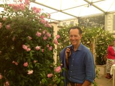 Richard E Grant stopped by on Press Day at RHS Chelsea Flower Show 2014 to check out our beautiful display of garden roses #DavidAustin