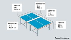 The size of a table tennis table is best described with a picture, this is a guide to the various dimensions of a regulation ping pong table. Ping Pong Table Diy, Diy Pool Table, Outdoor Ping Pong Table, Diy Table, Ping Pong Room, Table Tennis Dimensions, Game Room Basement, Butterfly Table, Ping Pong Paddles