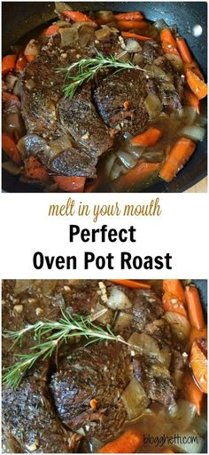 This recipe for the Perfect Oven Pot Roast, in fact, is the perfect meal. The meat is slow cooked in the oven with carrots and onions until the meat is fall-apart-tender and the carrots are tender crisp. (tip roast recipes) Roast Beef Recipes, Meat Recipes, Dinner Recipes, Cooking Recipes, Cooking Bacon, Boneless Chuck Roast Recipes, Chuck Steak Recipes, Game Recipes, Gourmet